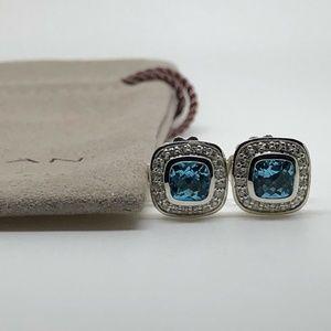 David Yurman Petite Albion Earrings w/ Blue Topaz